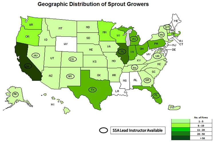 Geographic Distribution of Sprout Growers